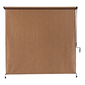 Coolaroo Exterior Cordless Roller Shade 8ft By 8ft Walnut Outdoor Sunscreen