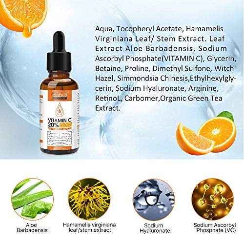 Premium 20% Vitamin C Serum For Face with Hyaluronic Acid, Retinol & Amino Acids - Boost Skin Collagen, Brighten Hydrate & Plump Skin, Anti Aging & Wrinkle Facial Serum