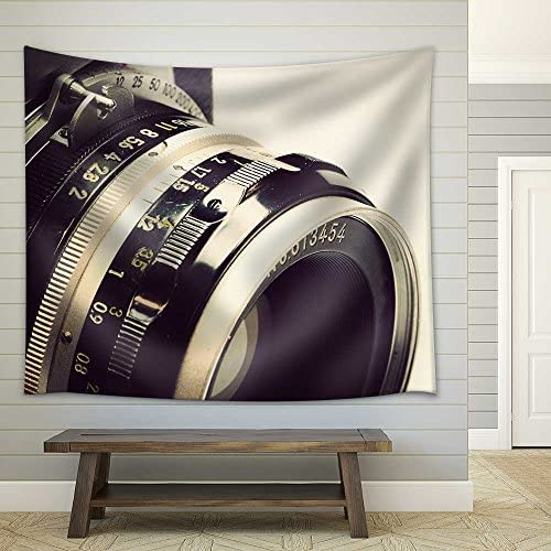 Old Film Camera and Lens Fabric Wall