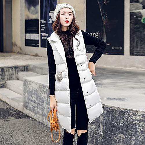 Amuster per Tuta Donna con invernale lungo pelliccia Collo Gilet medio in cappuccio imbottito cotone di donna invernale rArZEqdw