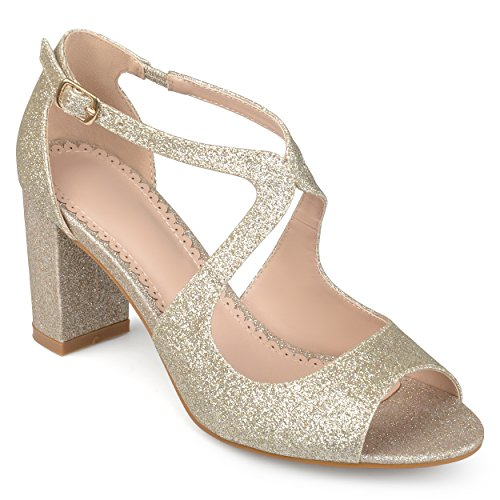 - Journee Collection Womens Open Toe Intersecting Straps Glitter Heels Gold, 8 Regular US