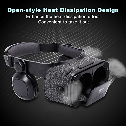 Ultralight Virtual Reality Headset with Stereo Headphones, 3D VR Glasses for VR games & 3D Movies, Comfortable & Immersive Experience VR Goggles for 4.7 - 6 inch IOS/Android Smartphones by geek-2016 (Image #4)