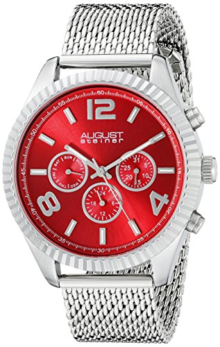 August Steiner Men's AS8196RD  Round Red Radiant Sunburst Dial Two Time Zone Quartz Bracelet (Stainless Steel 2 Register Chronograph)