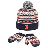 Top of the World Knitted University Illinois Toddler Beanie Glove Set
