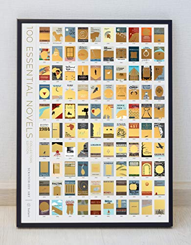 Creative Imaginations Rub - SolartUSA 100 Books Bucket List Scratch-Off Poster 18X24 Unframed Educational Poster and Wall Art Decor for the Living Room Bedroom - Book Lovers to Scratch Off and Reveal Story Specific Artwork