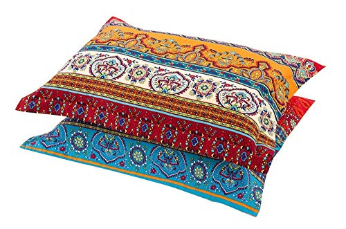 (HNNSI Exotic Striped Bohemia Pillow Shams Queen Size 2 Pieces,100% Brushed Cotton Thick Boho Pillow Cases Bohemian Pillow Covers,19