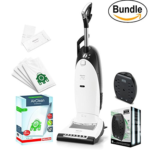 New Miele Dynamic U1 Cat and Dog Upright Vacuum, Lotus White - Corded, ReVIVE Rapid Dual USB 6 Outlet Wall AC Adapter, & 10123230 AirClean 3D Efficiency Dust Bag, Type U, 4 Bags & 2 Filters (Bundle) by Vacuum Cleaner Bundle