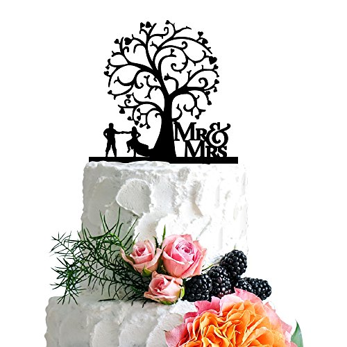 P Lab Rustic Wedding Cake Topper Bridal Shower Cake Topper Acrylic Decoration for Special Event Black - Wedding Cake Topper Cinderella