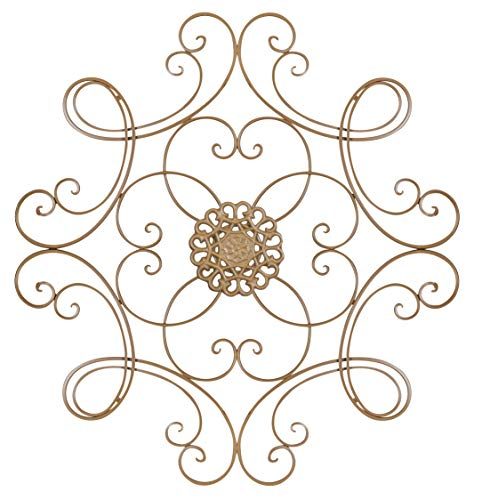 Besti Square Scrolled Metal Wall Medallion Decor – 24-1/2″ for Indoor and Outdoor Use – Eye Catching Wall Decor