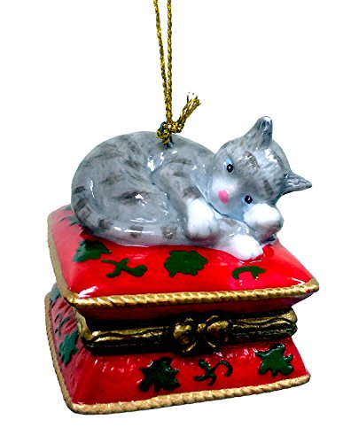Gray Tabby Cat Surprise Christmas Ornament Decoration Trinket Box