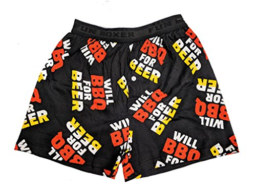 Fun Boxers Mens Boxer Shorts (Medium, Will BBQ for Beer)