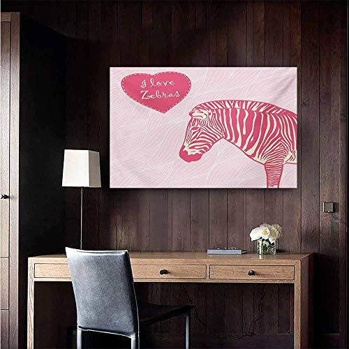 duommhome Pink Zebra Simulation Oil Painting I Love Zebras in Heart Romantic Wilderness Nature Savannah Fashion Decorative Painted Sofa Background Wall 35