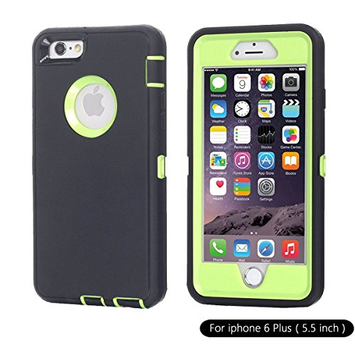 Ai-case Built-in Screen Protector Tough 4 in1 Rugged Shorkproof Cover With Kickstand for iPhone 6/6S Plus, Black/Green