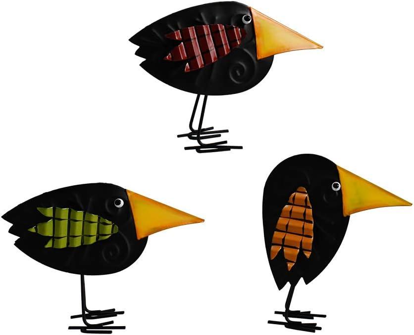 Metal Bird Figurine Home Decor Accent Set of 3, Rustic Bird Statue Tabletop Decoration Crow Raven Decor for Living Room Bedroom Office Decoration, Abstract Bird Figurine Fall Autumn Halloween Décor