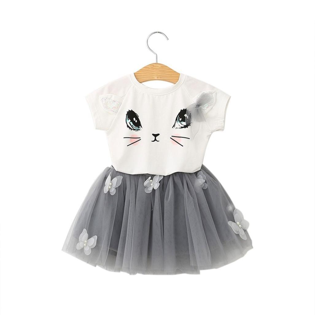 Summer Kids Girls Cat Pattern Shirt Top Butterfly Tutu Skirt (3 Years)