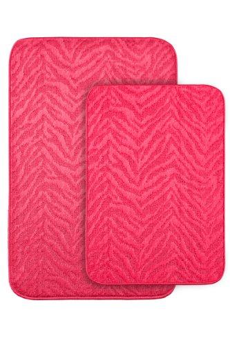 (Garland Rug Zebra 2-Piece Bath Rug Set, Pink)