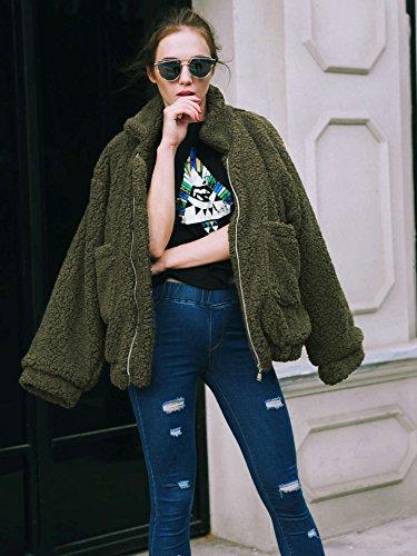 Casual Veste avec Hiver Poches Manteau Blouson Zipper Lapel Femme Manteau Automne Coton Oversize Chaud Outwear Walant Manches Vert Laine Longues qAR4IzwWF