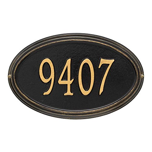 Comfort House Address Plaque - Oval Shape Metal Address Sign Personalized With Your House Number P2690 wall mount