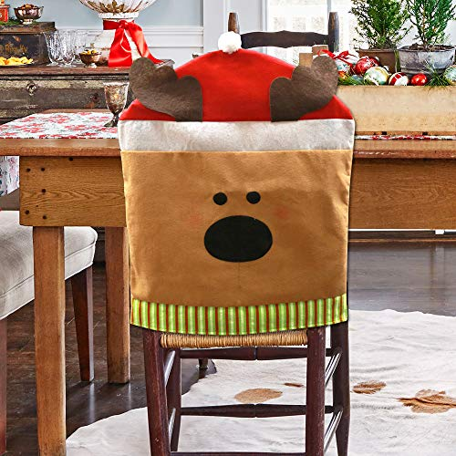 Natico Season Dining Room Reindeer Holiday Chair Cover, Brown/Whtie (100-102775) ()
