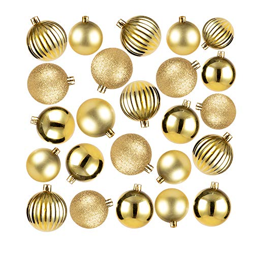 Juvale 48-Pack Mini Christmas Tree Ornaments - Gold Shatterproof Small Christmas Balls Decoration, Assorted 4-Finish Matte, Shiny, Glitter, Ribbed, Hanging Plastic Bauble Holiday Decor, 1.5 Inches