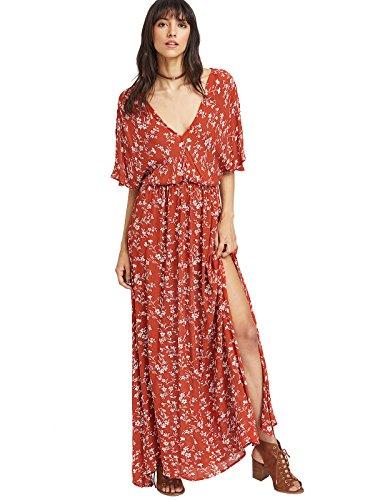 Milumia Women's Boho Split Tie-Waist Vintage Print Maxi Dress (Small, Red-1)