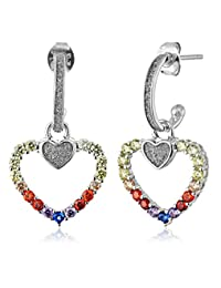 Sterling Silver Rainbow Cubic Zirconia & Glitter Infused Heart Earrings