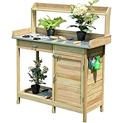 Giantex Potting Bench Table for Outside Natural Wood Garden Plant Lawn Patio Table Storage Shelf Moisture Free Metal Tabletop Outdoor Workstation Flower Pot Bench (Natural Fir w/Cabinet)