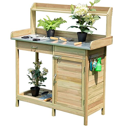 (Giantex Potting Bench Table for Outside Natural Wood Garden Plant Lawn Patio Table Storage Shelf Moisture Free Metal Tabletop Outdoor Workstation Flower Pot Bench (Natural Fir w/Cabinet))