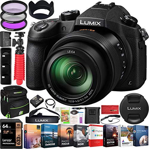 Panasonic Lumix FZ1000 4K Point and Shoot Digital Camera with 16x Leica DC Vario-Elmarit 25-400mm Lens DMC-FZ1000 Bundle with Deco Gear Bag Case + Filter Kit + Photo Video Software & Accessories