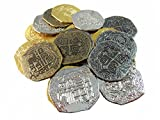 Extra Large Metal Pirate Treasure Coins - 1000 Gold and Silver Doubloon Replicas - Toy Pirate Coins