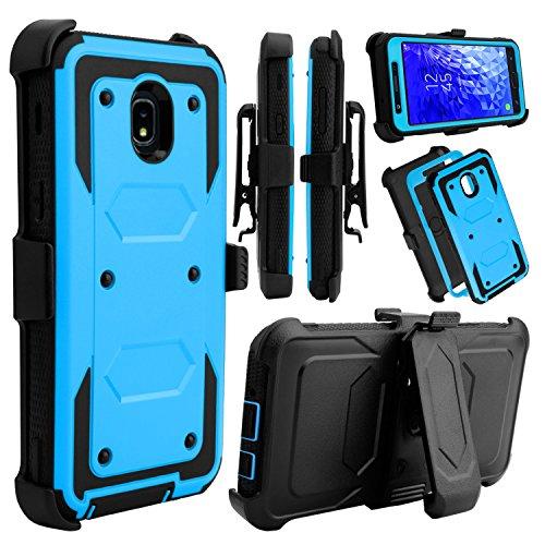 Galaxy J7 Star Case, Galaxy J7 Top J737T, Galaxy J7 Crown, Galaxy J7 Refine Case, Venoro Full Body Protection Case Cover with Swivel Belt Clip and Kickstand for Samsung Galaxy J7 Aura (Blue)