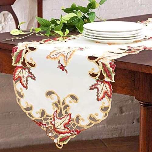 Easter Table Linen with Embroidered Edges and White Base Color - Maple Leaves Accents to Decorate Easter Table Runner