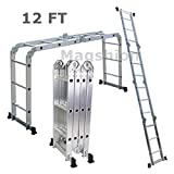 Multi Purpose Aluminum Ladder Step Scaffold Ladder Extendable Platform (12.17 FT)