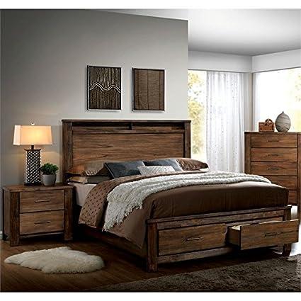 Amazon.com: Furniture of America Nangetti Rustic 2 Piece Queen ...