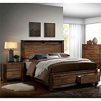 rustic queen bedroom sets. Amazon com  Furniture of America Nangetti Rustic 2 Piece Queen Bedroom Set in Oak Kitchen Dining