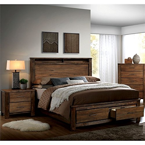 Furniture of America Nangetti Rustic 2 Piece Queen Bedroom Set in Oak (Furniture Queen Bedroom Sets)