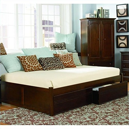 Atlantic Furniture Concord Platform Bed w Trundle in Antique Walnut