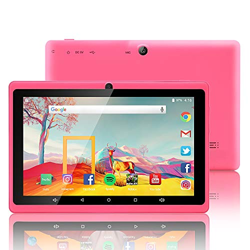 7 inch Tablet Google Android 8.1 Quad Core 1024x600 Dual Camera Wi-Fi Bluetooth 1GB/8GB Play Store Netflix Skype 3D Game Supported GMS Certified(Pink) (Google Android 7 Inch Tablet)
