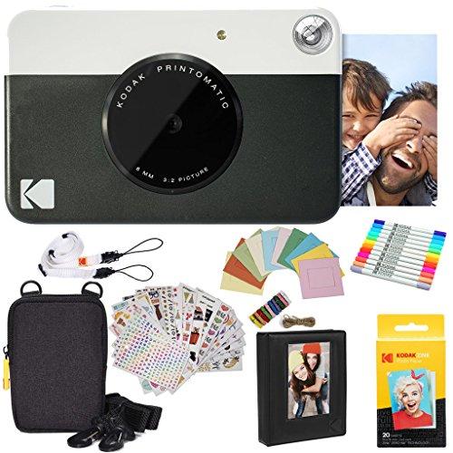 Kodak Printomatic Instant Camera (Black) Gift Bundle + Zink Paper (20 Sheets) + Deluxe Case + 7 Fun Sticker Sets + Twin Tip Markers + Photo Album + Hanging Frames + Comfortable Neck Strap