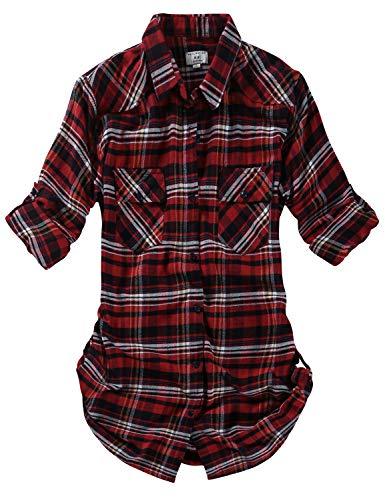 Match Women's Long Sleeve Plaid Flannel Shirt #2021(X-Small, - Shirt Check Sleeve Tab