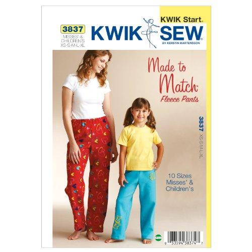Kwik Sew K3837 Fleece Pants Sewing Pattern, Size Misses: XS-S-M-L-XL Childrens: XS-S-M-L-XL by KWIK-SEW PATTERNS