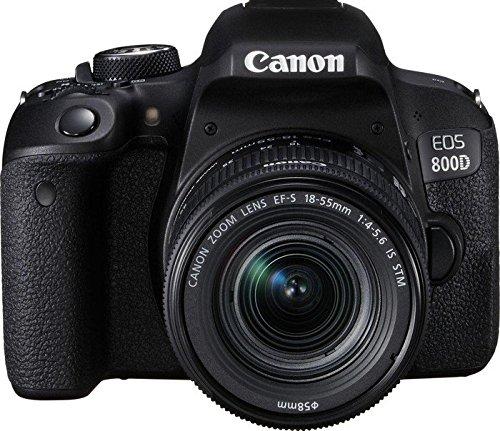 """Canon EOS 800D – Cámara RÉFLEX de 24.2 MP (Pantalla táctil de 3.0"""", NFC, Dual Pixel CMOS AF, Bluetooth,45 Puntos AF, 6 fps, Full HD, WiFi) Negro – Kit Cuerpo con Objetivo EF-S 18-55IS STM"""