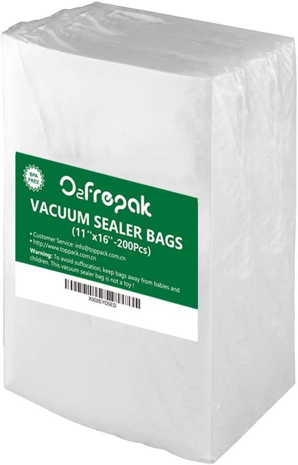 "Premium!! O2frepak 200Gallon Size11"" x 16"" Embossed Food Saver Vacuum Sealer Bags for Seal a Meal,Food Saver,Plus other Machines.BPA Free Commercial Grade Sous Vide Vaccume Seal PreCut Bag"