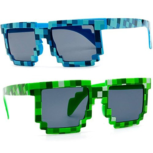 MJ Boutique's 8-Bit Pixel Retro Novelty Gamer Geek / Creeper Costume Sunglasses Adult Size (2 - Glasses Bann Ray