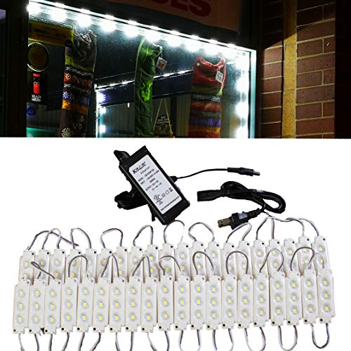 20ft Storefront Super Bright Pure White LED Light 5630 series with UL 12v 3A Power ()