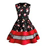 Womens Dresses Liraly Clearance Santa Snowman Christmas Dress Sleeveless Xmas Swing Retro Dresses (S, Black)