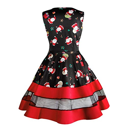 Womens Dresses Liraly Clearance Santa Snowman Christmas Dress Sleeveless Xmas Swing Retro Dresses (S, Black)