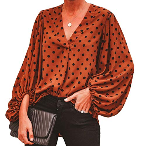 New in Respectful ❈ Women Lantern Sleeve Top Polka Dots Printed V Neck Wrap Shirt Top Sexy Blouse Brown
