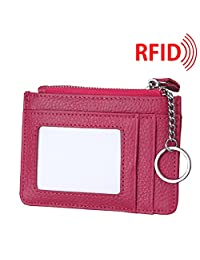 MuLier Genuine Leather Womens Slim Zipper Credit Card Holder Wallet RFID Mini ID