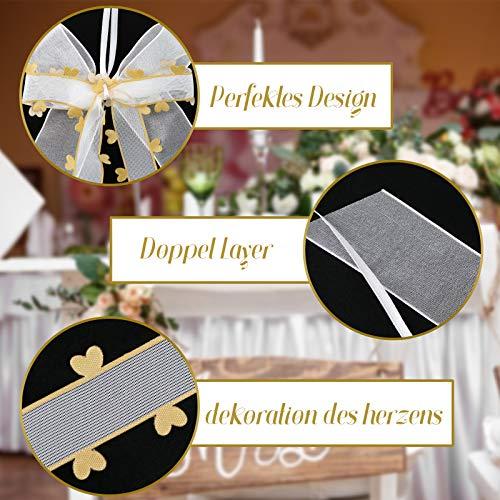 VGOODALL 30 STK. Autoschleifen Antennenschleifen Weiß Gold mit Goldenen Herzen Schleifen Hochzeit Handgemacht Satinband für Dekoration Feste